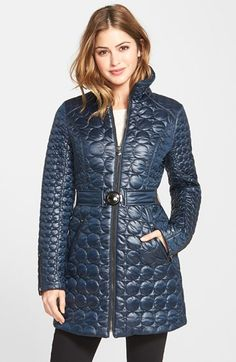 Laundry+by+Shelli+Segal+Belted+Quilted+Coat+(Regular+&+Petite)+available+at+#Nordstrom  Shiny and not black.