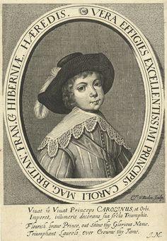 Cornelis van Dalen (I) | Portret van Karel II, als jongen, Cornelis van Dalen (I), Monogrammist JM (schrijver), 1630 - 1665 | Portret van Karel II als jongen, borststuk met hoed in ovale omlijsting. In de marge onder vers in Latijn en Engels.