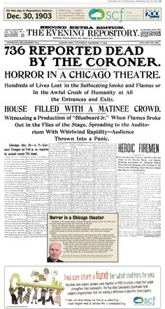 A horrific theater fire in Chicago was front-page news in The Repository on Dec. 30, 1903.