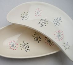 Set of Two Mid Century Franciscan Plates, Echo Pattern, Crescent Shaped Plate and Relish Tray, 1950s by UpswingVintage on Etsy