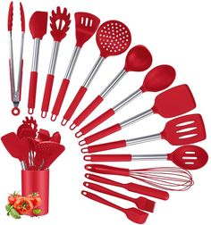 (This is an affiliate pin) Silicone Utensils Non stick Resistant Stainless Silicone Kitchen Utensils, Cooking Utensils Set, Kitchen Utensil Set, Cooking Tools, Kitchen Tools, Kitchen Dining, Red Kitchen, Stainless Steel, Cookware