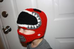 Red Power Ranger Inspired Crochet Helmet beanie hat with movable mouthpiece  by StargazerHandcrafted, $35.00