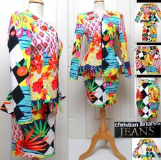 """Vintage 80's French Designer """"Christian Llinares Jeans"""" 2 Piece Jacket/Blazer 40 FR (10 US) & Skirt 38 FR (8 US). Mutl-Color Art/Floral/Geometric Pattern. NEW Original Tags Attached. RARE! Don't Miss Out!  SOLD!"""