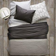 Beautiful black white and grey bedding via West Elm