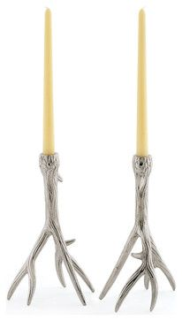 Rustic Country Glam Polished Nickel Antler Outback Candleholders - traditional - candles and candle holders - Kathy Kuo Home