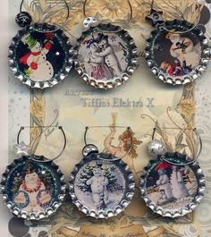 Snowman Christmas wine beer and drink charms. These would be easy to make into Christmas ornaments. Christmas Wine, Christmas Snowman, All Things Christmas, Christmas Holidays, Christmas Decorations, Christmas Ornaments, Father Christmas, Bottle Cap Art, Bottle Cap Crafts