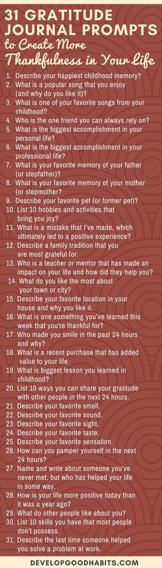 These 31 Gratitude Journal Prompts can help you start practicing gratitude. Turn it into a daily habit by committing to daily gratitude journaling. Gratitude Journal Prompts, Practice Gratitude, Journal Inspiration, Journal Ideas, Motivation, Creative Writing, Self Improvement, Coping Skills, Self Help