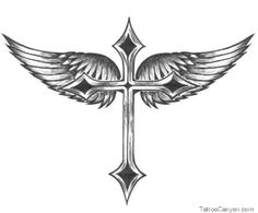 Tribal Angel Wings Cross Tattoo Design picture 14127