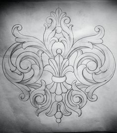Acanthus motif More Mais Leather Carving, Wood Carving, Stencils, Neue Tattoos, Tattoo Hals, Carving Designs, Leather Pattern, Leather Craft, Embroidery Patterns
