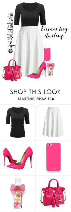 """""""Apostolic Fashions #1442"""" by apostolicfashions ❤ liked on Polyvore featuring Doublju, Chicwish, Christian Louboutin, Kate Spade, Juicy Couture, MICHAEL Michael Kors, modestlykay and modestlywhit"""