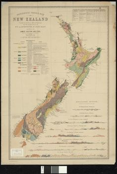 Geological sketch map of New Zealand constructed from official surveys and the explorations of Dr. F. von Hochstetter, Dr. Julius von Haast and others.