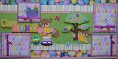 The Hunt Easter Girl 2 2 Premade Scrapbook Pages Paper Piecing Layout Sewn | eBay