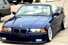 BMW E36 3 series cabrio blue slammed