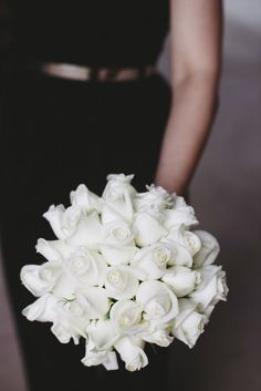 This bouquet of all white roses looks clean and crisp. Love roses? Shop roses year-round in a variety of colors at GrowersBox.com!