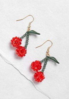 So Cherry Thoughtful Earrings - A ModCloth-exclusive design of glossy red beads below green leaves and beaded stems, these dangle earrings add so much sweet character, you'll want to wear 'em just about every day! Funky Earrings, Beaded Earrings, Beaded Jewelry, Crochet Earrings, Quilling Earrings, Gothic Jewelry, Unique Earrings, Jewelry Necklaces, Hoop Earrings