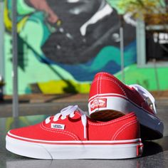 578307f304e Red Vans Authentic for Kids Red Vans Shoes, Vans Shoes Kids, Vans Authentic  Red