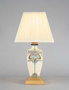 "A very smart, early 20th century,   Japanese, Art Deco era an accent lamp.  The lamp of geometric Art Deco style, typified in both shape and decoration.  The lamp delicately enamelled in cloisonne manner.  Circa 1925 Overall height (including shade) 14""/35.5cm"
