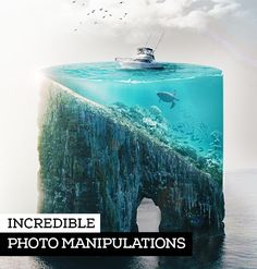 Creative examples of Photo Manipulation, done by designers. Photo manipulation tutorials, will teach your how to make the most incredible photos and eye-catching effects. Photo Manipulation Tutorial, Graphic Design Tutorials, Fonts, Banner, Designers, The Incredibles, Eye, Creative, Photos