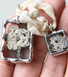 ❥ crocheted piece and rhinestones under glass
