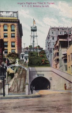 Angel's Flight and Third St. Tunnel with the BPOE building to the left. The inclined railway was located in the Bunker Hill section of Los Angeles, CA
