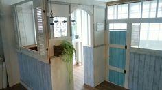 カラボ、1×4、ベニヤ板、紙粘土、リメイクシートで間仕切りのような小屋