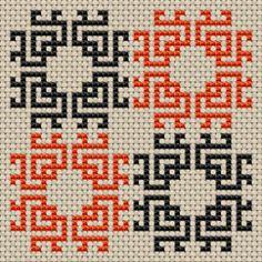 Biscornu (pincushion) cross stitch pattern, free from Garnstudio