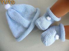 TUTO TU-006 - bonnet bébé, tricot laine fait main, toutes les explications  pdf en téléchargement numérique, laine tricot bébé layette bb 6280b6646b5