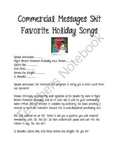 Holiday Skit Favorite Songs from Laila_Camacho on TeachersNotebook.com -  (17 pages)  - Are you planning a holiday play or party? Maybe you want something fun to do in class besides another worksheet around the holidays? If so, this is the skit for you!