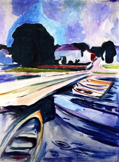 Rowboats at Åsgårdstrand, Edvard Munch c. 1932-1933