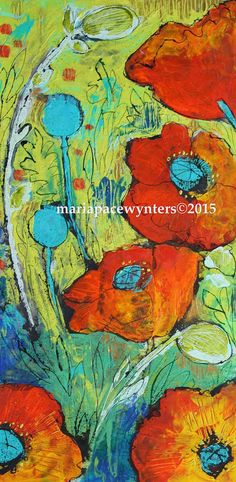 Orange Poppies- mixed media encaustic painting by Maria Pace-Wynters