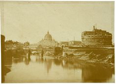 Roma, Castel S.Angelo and Tiber 1850 (ca) Salt print from paper negative Vatican, Old Photos, Paris Skyline, Taj Mahal, Italy, Memories, Antique, Places, Travel
