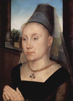 Hans Memling 043 - Hennin - Wikipedia, the free encyclopedia.  (Truncated hennin, Burgandy, ca. 1480)