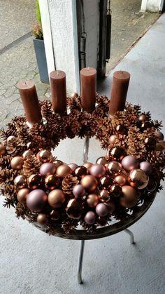 Tischkranz, Kerzen, Kupfer Braun Natur