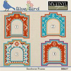 DIGITAL DOWNLOAD ... Southwest Frame Vectors in AI, EPS, GSD, & SVG formats @ My Vinyl Designer #myvinyldesigner #bluebird