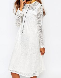 Image 3 ofNavy London Smock Dress In Lace With Front Panel