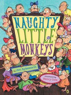 Naughty Little Monkeys  by Jim Aylesworth, Henry Cole (Illustrator). There are very clearly more than 20 monkeys to go through.. reinforces the alphabet, but doesn't exactly demonstrate appropriate repercussions for bad behavior. Would not read again.