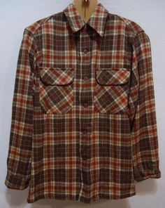 Vintage Pendleton Mens Medium M Shirt Virgin Wool Plaid Chore Barn Button Down #Pendleton