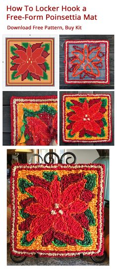 Locker Hook A Colorful Poinsettia Design In Free Form Hooking Kit And Rug Patternscrochet