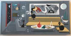EL GATO GOMEZ PAINTING RETRO 1950'S JAZZ BLACK CATS MID CENTURY MODERN BEATNIK #Modernism