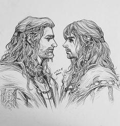 """evankart: """" Prince Fili, Kili and old king Thorin of Erebor """" Hobbit Art, The Hobbit, Hobbit Bilbo, Bilbo Baggins, Thorin Oakenshield, Aidan Turner, Fili Y Kili, Cartoon Drawings, Art Drawings"""