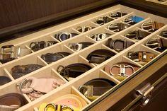 Belt cubby drawer.