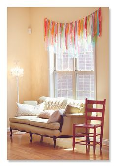 Ribbon window valance... made for a birthday party but I would love this everyday