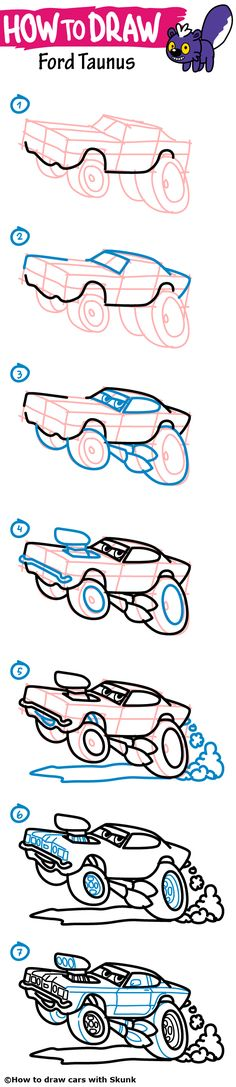 how to draw a car ford taunus step by step tutorial for kids