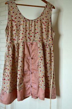 summer dress upcycled clothing beige pink recycled by smArtville