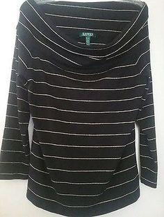 b28e60b71b5f8 Lauren Ralph Lauren Womens Off Shoulder Top Black Gold Stripes 3 4 Sleeves  XL