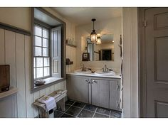 love the raised panels in the deep window sills! The subdued colors make this bathroom beautiful Primitive Bathrooms, Rustic Bathrooms, Old House Decorating, Condo Living, Old House Dreams, Home Remodeling, Decoration, Shutters Inside, House Styles
