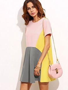 603cab7b78b5 SheIn Women s Cute Short Sleeve Pockets Color Block Casual Swing Tunic Dress  at Amazon Women s Clothing