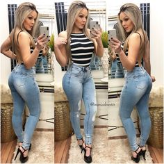 A imagem pode conter: 3 pessoas, pessoas em pé e sapatos Crop Top Outfits, Hot Outfits, Fashion Outfits, Womens Fashion, Sexy Jeans, Skinny Jeans, Lil Black Dress, Clubwear, Sexy Women