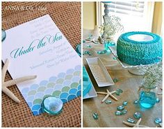 love the Under the Sea font and the water dyed to match the glass beads (mimicking spilled water)