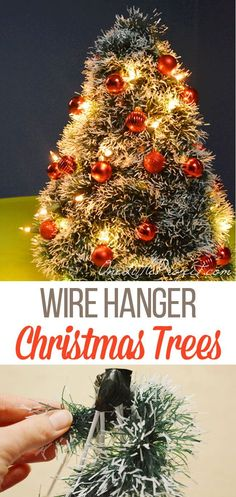 This DIY wire hanger tree is so cute and you can make it out of any colour garland that you want. It's such a great way of making a Christmas tree form without breaking the bank, and so easy with the hangers! Hanger Christmas Tree, Xmas Tree, Christmas Tree Decorations, Christmas Activities, Christmas Crafts, Christmas Ornaments, Wire Hangers, Winter Christmas, Craft Tutorials